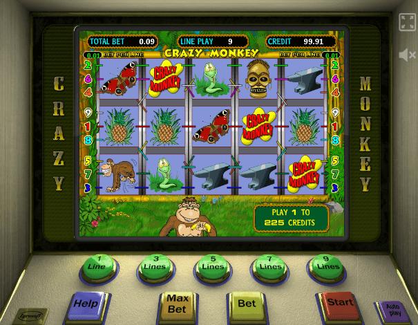 Играть в автомат Crazy Monkey / Бешеные обезьянки